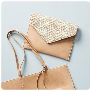 { anthropologie } leather woven envelope clutch